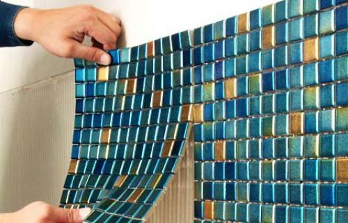 Сочетание мозаики и плитки. №7. Процесс укладки плитки мозаики