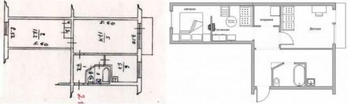 Переделка 2 комнатной квартиры в 3 х комнатную. Двухкомнатная хрущевка: переделка