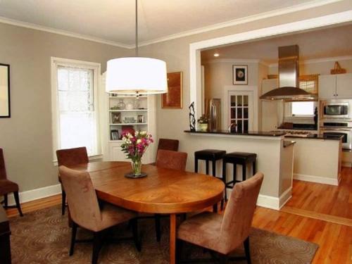 Комната и кухня в одном помещении. Планировка совмещенной кухни со столовой