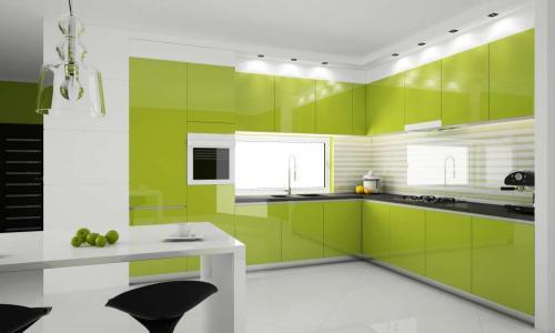 Серо зеленая кухня. Сочетание с другими оттенками в интерьере кухни