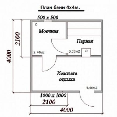 Баня из бруса 4 н.  Особенности проектов 4х4 м